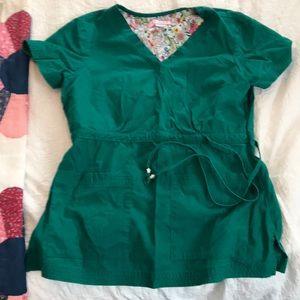 Koi Scrub Top - Green - Size Small